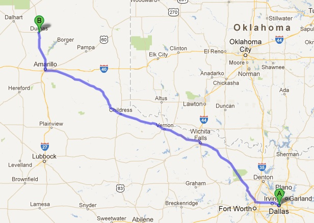 Dallas -Dumas 411 miles, motorcycle, route, ride