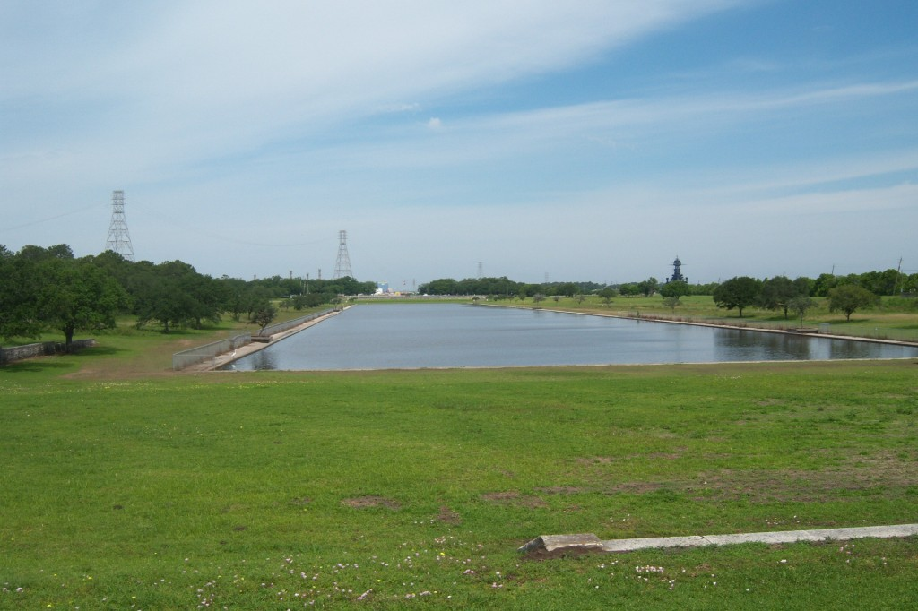 San Jacinto Monument Reflecting Pool with Battleship Texas