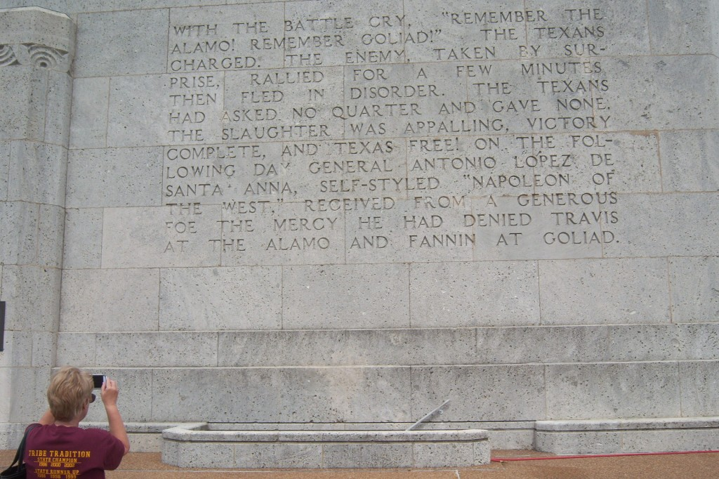 Text on base of the San Jacinto Monument
