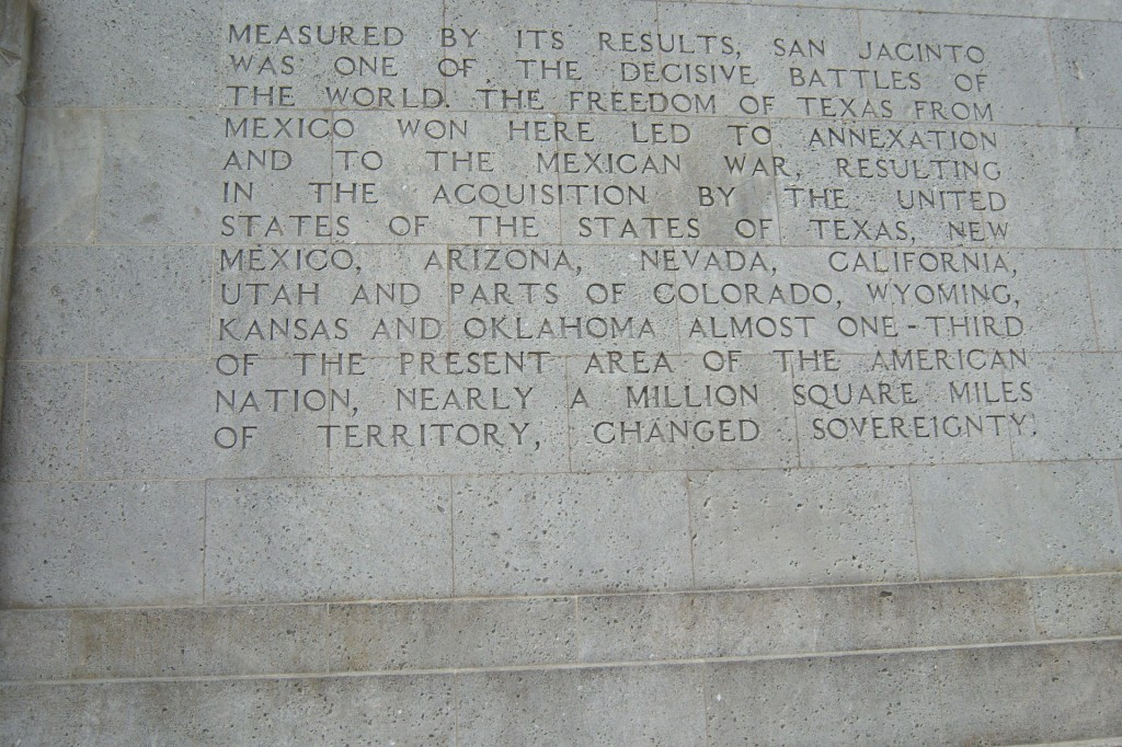 Text on the base of the San Jacinto Monument