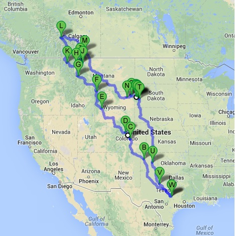 National Park Motorcycle Ride Route Map