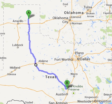 Day 16 Ride map... Pampa to Georgetown