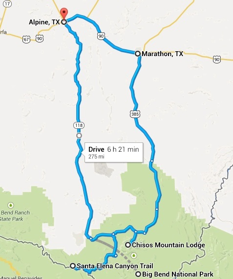 2002 Big Bend Motorcycle Ride Map Day 2