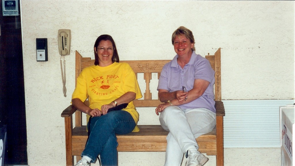 Janet and Ginny are smiling after a long day of riding in the heat.